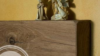 Baldas tipo viga de madera de roble macizo