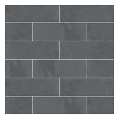 Montauk Black Subway Tile 4X12 Florence Slate 4X12 Slate