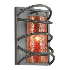 Woodbridge Lighting Loop Wall Sconce Black, Amber Mosaic Glass