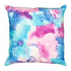 """Mod Watercolor Indoor/Outdoor Throw Pillow, 18""""x18"""""""