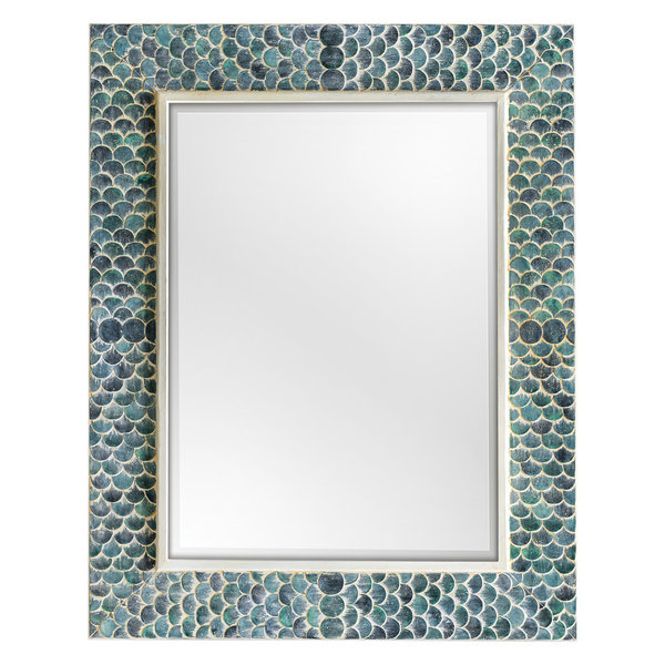 Luxe Large Aqua Blue Coastal Mosaic Wall Mirror | Vanity Scales Green