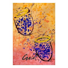 Mixed Media Basket Painting, Lithograph And Acrylic By Dale Chihuly, Art