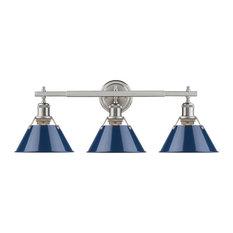 Orwell 3-Light Bath Vanity, Pewter Navy Blue Shades