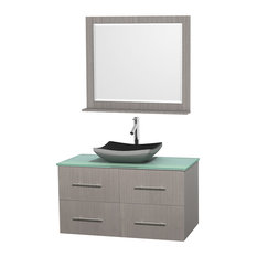 42 in. Single Bathroom Vanity in Gray Oak, Green Glass Countertop, Altair Black