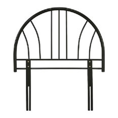 Single Headboard in Black Finished Solid Metal, Simple and Contemporary Design