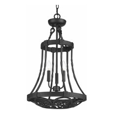 Progress Enclave 3-Light Foyer Light, Gilded Iron, Frosted/Pearl - P3691-71