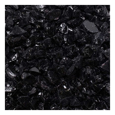 "Crushed Fire Glass, Onyx Black 1/2"" to 3/4"", 10 lb. Jar"