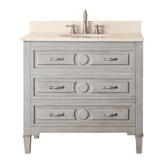 "Avanity Kelly 31"" Vanity, Grayish Blue Finish, Galala Beige Marble Top"