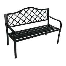 Contemporary Bench, Black Cast Iron With Lattice Patterned Back