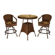 Tortuga Outdoor - Sea Pines Bar Set, 2 Bar Chairs, 1 Bar Table, Java, Montfleuri Sangria, Java, Ra - Outdoor Pub and Bistro Sets