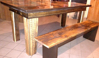 Maine Farmhouse Table and bench from reclaimed Antique Barn Wood.