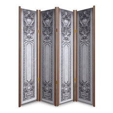 """The Lion and The Lady"" Ornamental Architectural Image Folding Partition, Cedar"