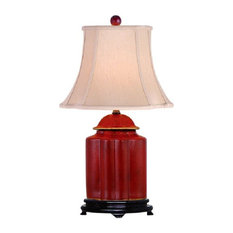 Asian table lamps houzz william sung chinese red lacquer wooden scallop ginger jar table lamp shade and finial 22 aloadofball Image collections