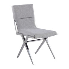 Contemporary Chairs With Sawbuck Base, Set of 2, Polished Stainless Steel