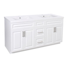 Dyconn Faucet Harrington 60-inch Shaker Bathroom Vanity With Double Basins White