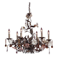 Elk Group International Artistic Lighting 85002 6 Light Chandelier In Deep Rust And Hand