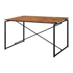 Acme Jurgen Metal tube Dining Table in Brown Walnut