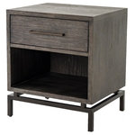 Zin Home - Alexa Industrial Modern Iron and Oak Nightstand - Inspired by mid-century modern design, sleek, squared-off shapes are offset by dark, distressed finishes and accented with antiqued brass hardware. A floating iron base lightens the depth of rich, Gray-finished oak, as clean lines lend a tailored look to warm rustic tones. Single drawer plus open shelving offer handy bedside storage. Perfect in pairs.