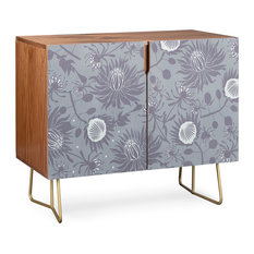 Deny Designs Protea Credenza Walnut Gold Steel Legs