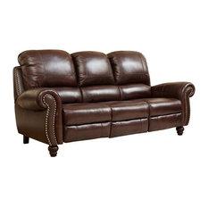 Ordinaire Abbyson Living   Abbyson Living Cambridge Leather Pushback Sofa, Dark  Burgundy   Sofas