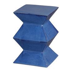 Emissary Zigzag Blue Garden Stool, Blue