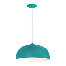 """Dome Pendant, Tahitian Teal With Gloss White Lens, 16"""" Shade"""
