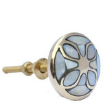 DaRosa Creations - Pearl Cabinet Knobs With Brass Base and Flower Pattern - This beautiful pearl cabinet knob has a gold base and an inlay of mother of pearl in the pattern of a flower. These classy drawer knobs will give a sophisticated look to tired furniture.