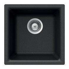 Houzer E-100U MIDNITE Quartztone Series Granite Dual Mount Bar/Prep Sink, Black