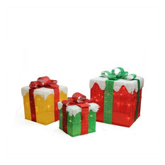 Lighted Gold Green and Red Gift Boxes Christmas Outdoor Decoration, 3-Piece Set