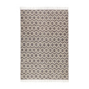 Jute and Cotton Honeycomb Gray With Fringe 5'x7', 8'x10'