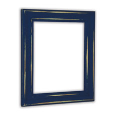 """Distressed Deep Blue Picture Frame, Solid Wood, 16""""x20"""""""