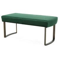 Doreen Modern Velvet Bench With Brushed Brass Metal Legs, Emerald