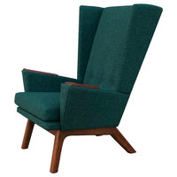 Teal Green Upholstered Tall Wingback Mid Century Modern Handcrafted Lounge Chair