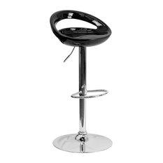 Flash Furniture Contemporary Black Plastic Adjustable H Bar Stool
