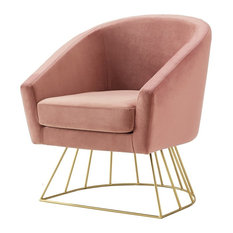 Alice Velvet Barrel Accent Chair With Metal Base, Blush/Gold