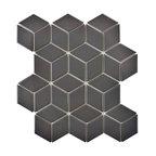 "10.5""x12.13"" Victorian Rhombus Porcelain Mosaic Floor/Wall Tile, Matte Gray"