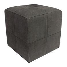 """Decor Maisonette Distressed Leather Pouf Lincoln, Black, 18"""""""