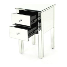GDF Studio Seranade Mirror Finished 2-Drawer Side Table