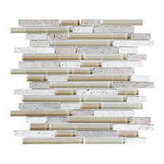 """Bliss Creme Brulee Stone and Glass Linear Mosaic Tile, 12""""x12"""" Sheet"""