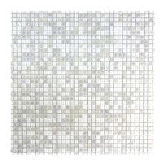 Miseno Comet Glass Visual Wall Tile Sheet, White Shower