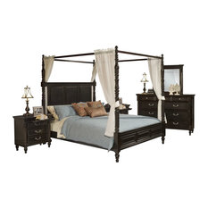 Marseille 5 Piece Canopy Cal King Bed, 2 Nightstand, Dresser, Mirror,