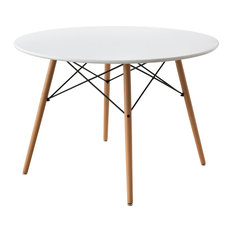 Mid-Century Dining Table, White Rounded Top With Hardwood Legs