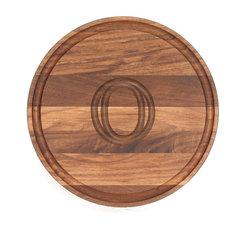BigWood Boards Round Monogram Walnut Cheese Board, O