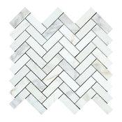 Calacatta Florence Herringbone Mosaic, 1x3, Polished Mosaic Tiles, 10 Sqft