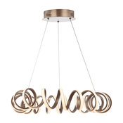 "Cursive 24"" Spiral Integrated LED Chandelier Ceiling Light,Coffee"