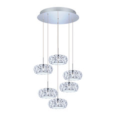 6x4.5W LED Multi Light Staircase Pendant With Chrome Finish and Crystal