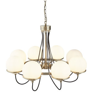 Sphere 8-Light Ceiling Chandelier, Antique Brass, Black Braided Cable