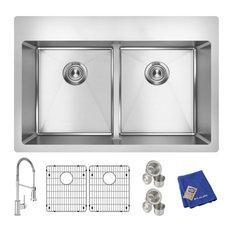 Elkay Crosstown 18 Gauge Stainless Steel Sink Kit with Faucet