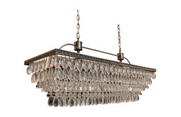 Lightupmyhome Weston Rectangular Glass Drop Chandelier, Antique Brass Finish
