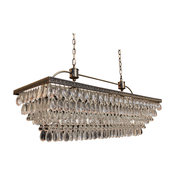 Weston Rectangular Glass Drop Chandelier, Antique Brass Finish,  40""
